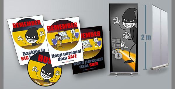 Humor mod hacking plakater, roll-ups, klistermærker og konkurrencer er med til at skærpe medarbejdernes opmærksomhed.